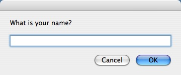An AppleScript dialog that prompts the user to enter their name.