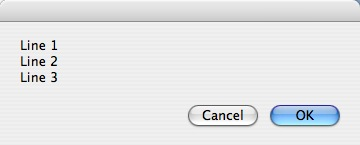 An AppleScript dialog that displays several lines of text.