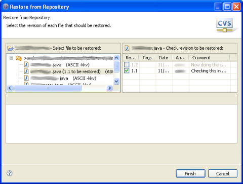 Eclipse Restore from Repository dialog (CVS)