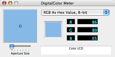 The Mac OS X Digital Color Meter application.