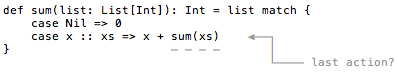 Is the `sum` function tail-recursive?