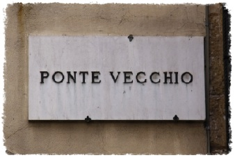 Ponte Vecchio sign, Florence, Italy