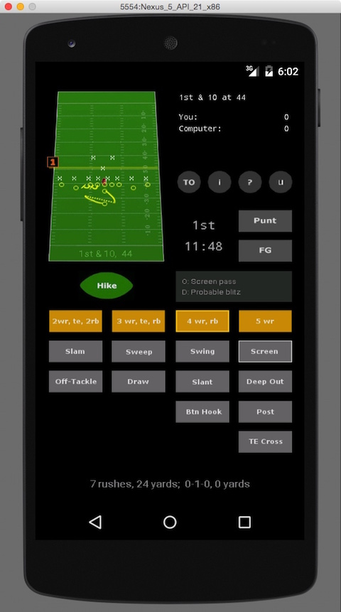 Android         Football Game - Deep Out on 1st Down