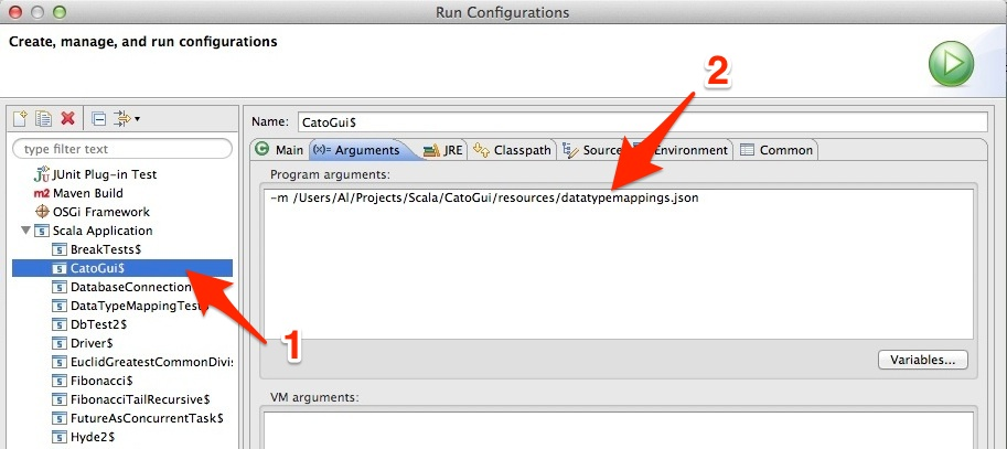 Setting a Scala application's command line parameters in Eclipse