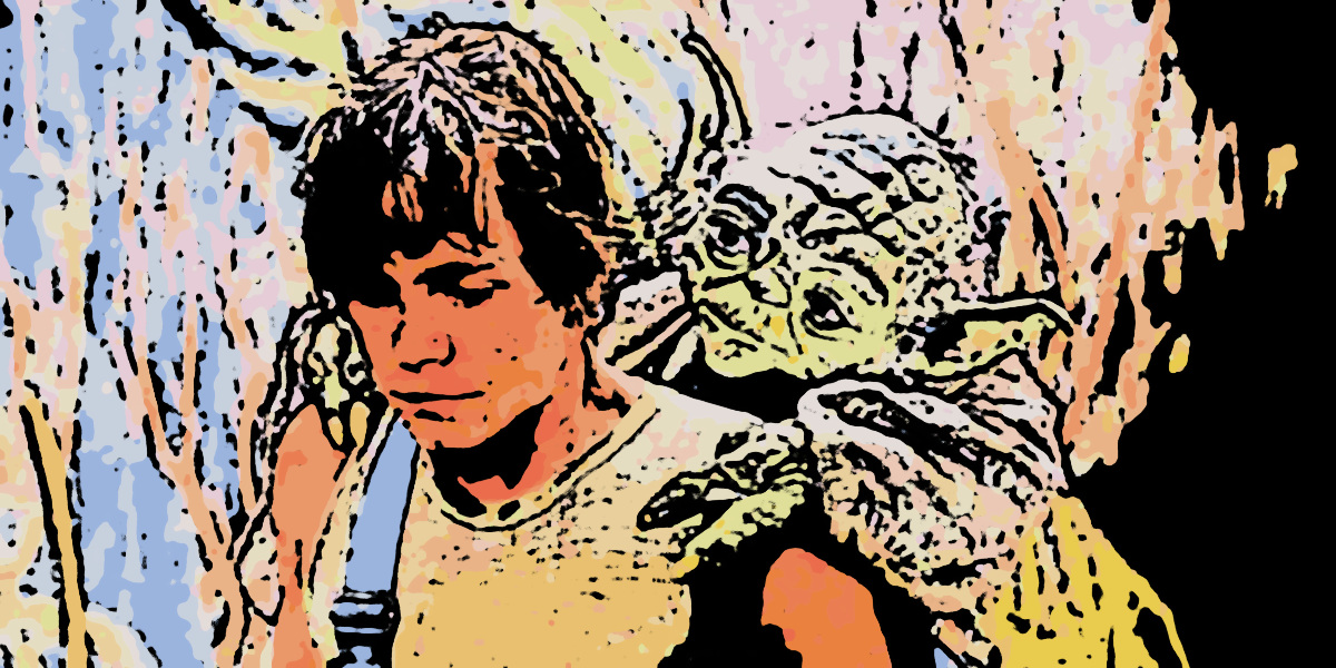 Yoda on Luke's back (cartoonized with Gimp