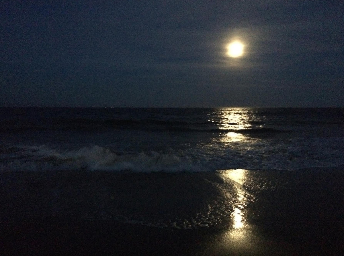 Moonrise over the ocean, Virginia Beach (#2