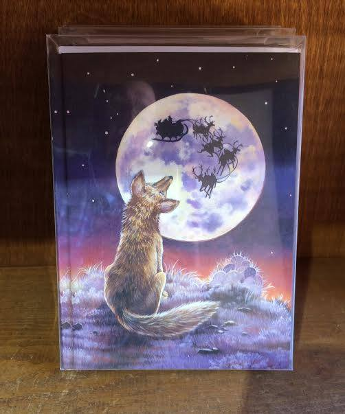 """Fox looking at the Moon"" Christmas card from Santa Fe"