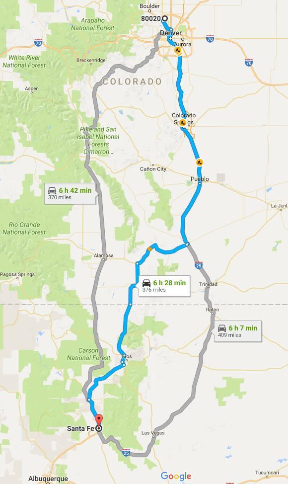 Driving from Boulder, Colorado to Santa Fe, New Mexico ...