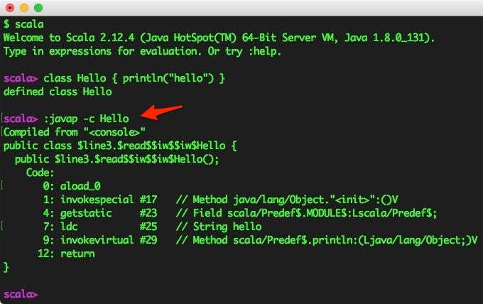 You can run the `javap` command inside the Scala REPL