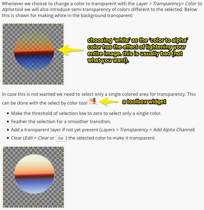 How to erase to transparency in gimp
