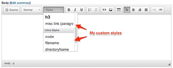 """Drupal 8: How to add custom styles to the CKEditor """"Styles"""