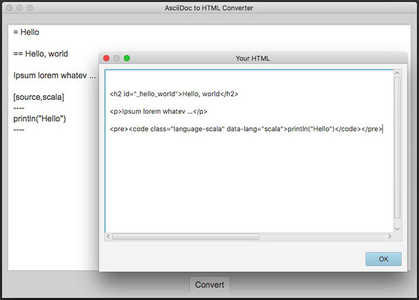A little Scala project to convert AsciiDoc to clean, simple