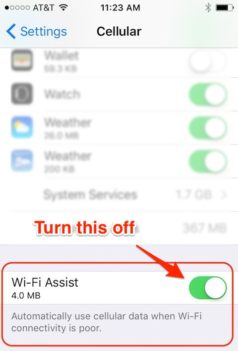 The iPhone/iOS Wi-Fi Assist setting