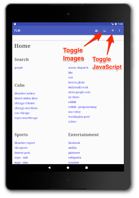 How to enable and disable images in FLiB's Android browser