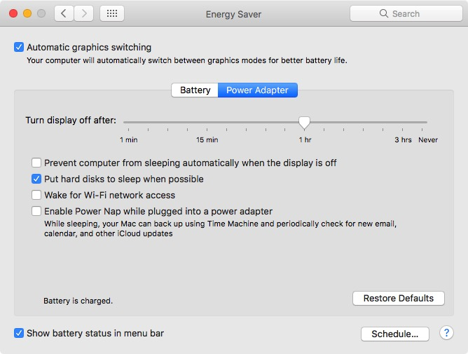 MacOS system preferences > Energy Saver