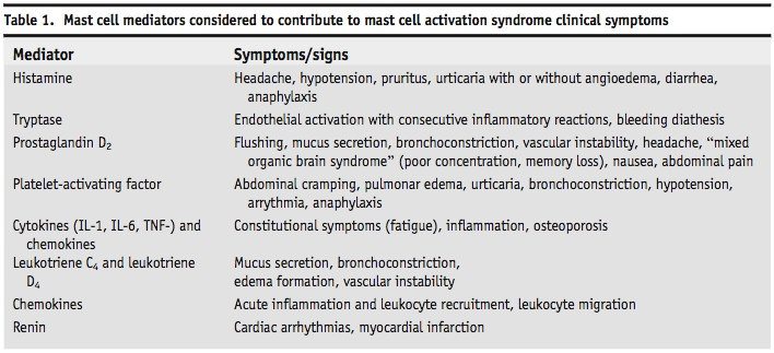 Mast cell mediators and their symptoms