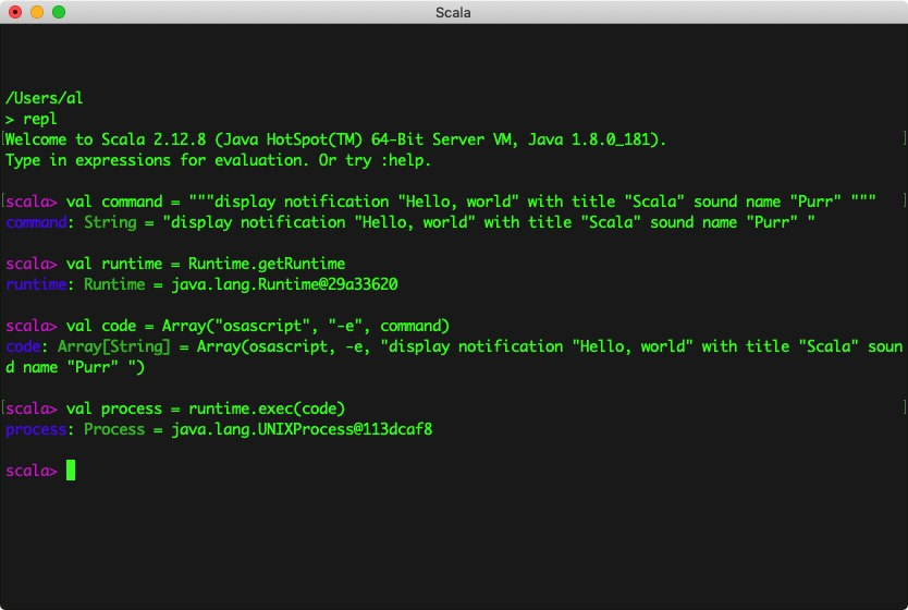 Sending MacOS notifications from the Scala REPL