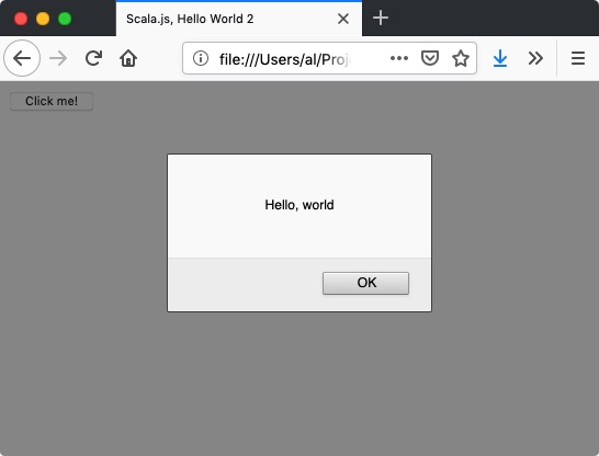 "A Scala js tutorial: ""Hello, world"" with an HTML button"