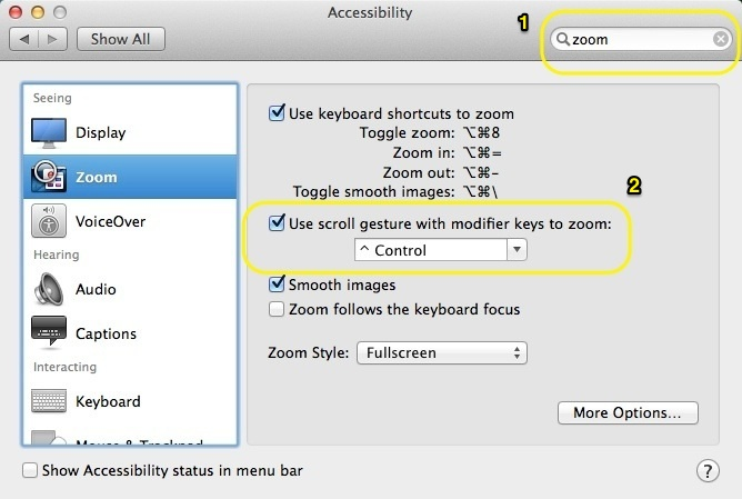 how to zoom screen on mac