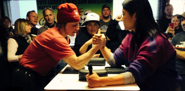 Woman challenges Iditarod racer to arm wrestle, gets her