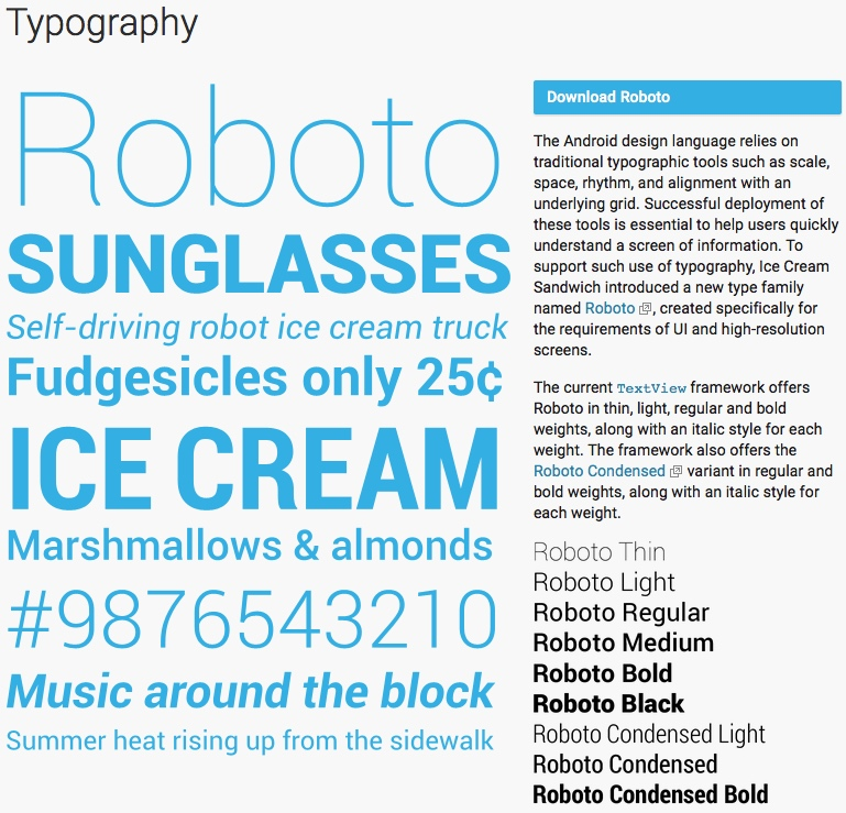 Android 'Roboto' fonts (examples) | alvinalexander com
