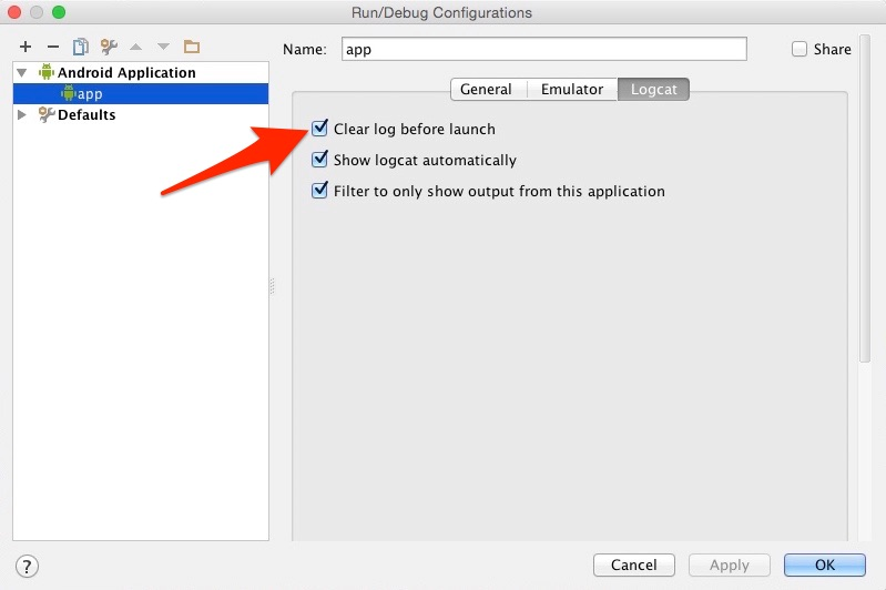 Android Studio: How to clear logcat output before every run