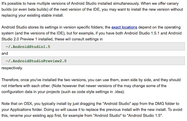 Installing multiple versions of Android Studio