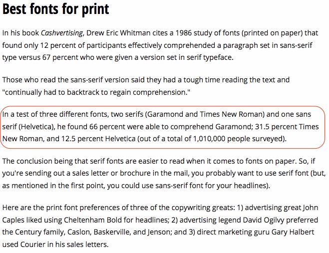 The best fonts to use for print (readability and
