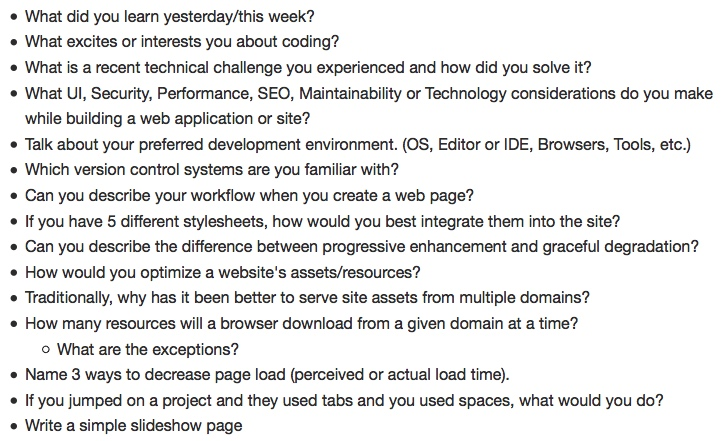 front end developer job interview questions
