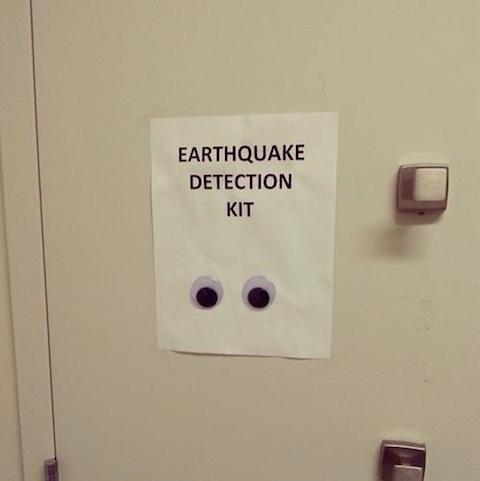 Earthquake detection kit (funny sign)   alvinalexander.com