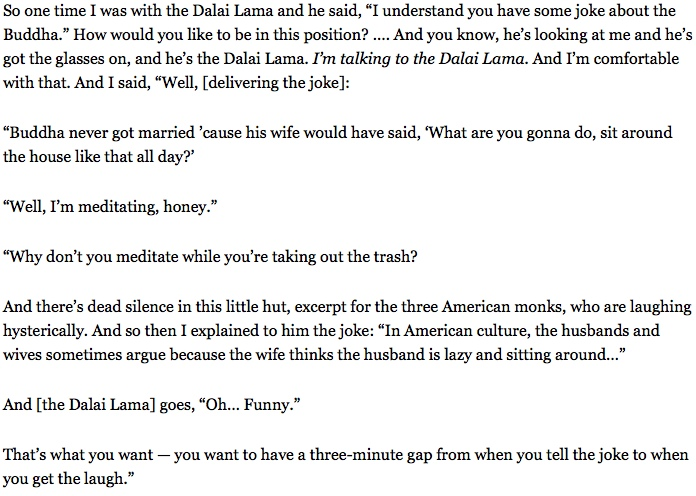 Garry Shandling tells the Dalai Lama a joke   alvinalexander com