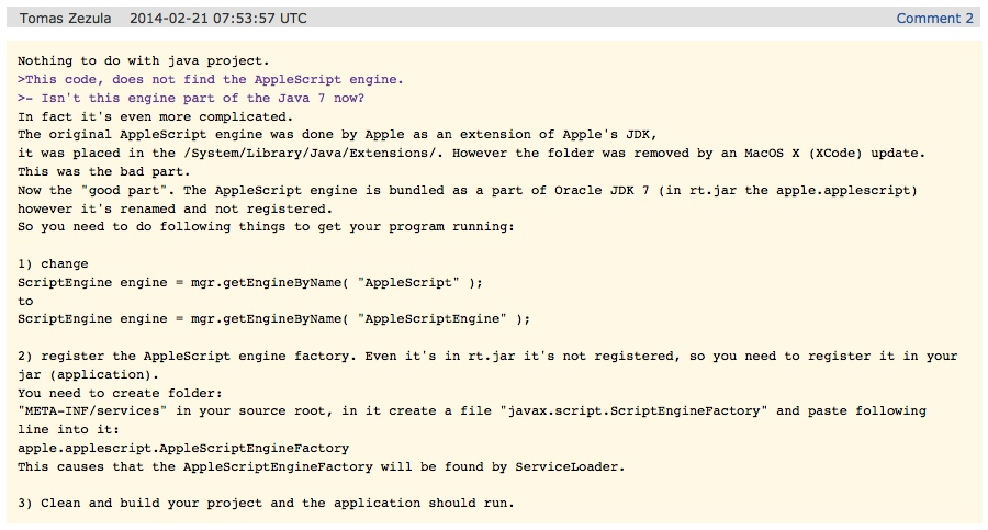 How to configure AppleScript to work with Java 7 on Mac OS X