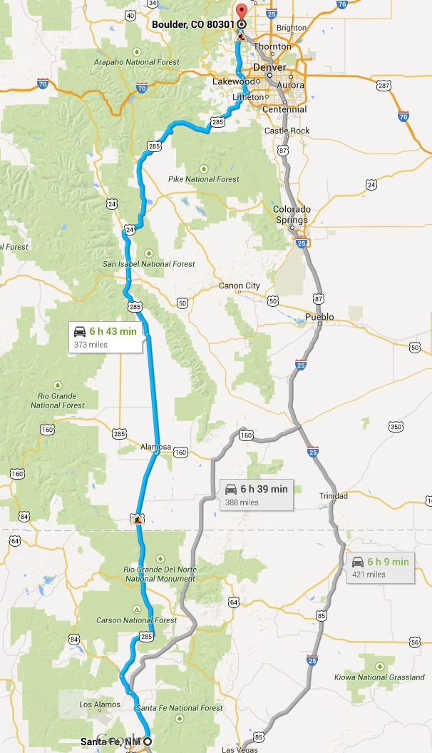 Driving Route 285 from Santa Fe, New Mexico to Boulder, Colorado ...