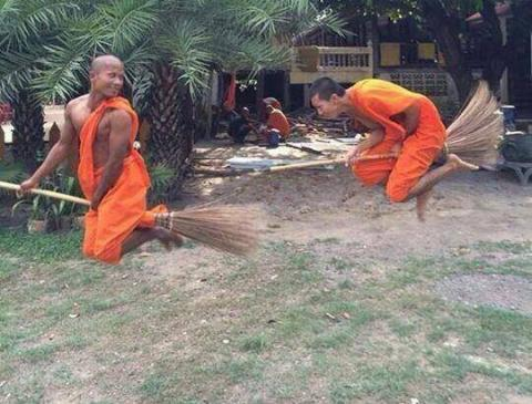 Young Buddhist monks in flight training class