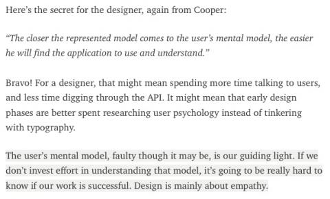 Design is about the mental model