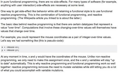 Functional reactive programming and changes over time