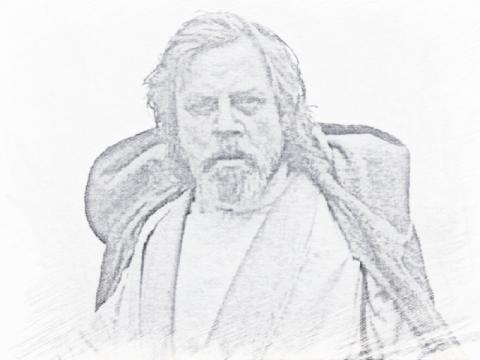Luke Skywalker black and white sketch
