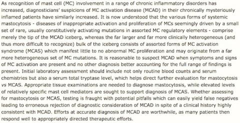 Diagnosis of MCAD and MCAS