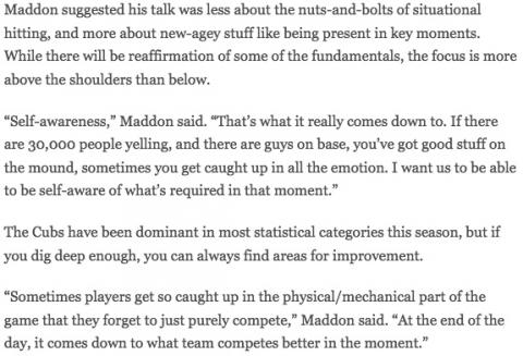 Mindfulness in baseball (Joe Maddon, Cubs)