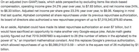 Alphabet/Google's geeky stock buybacks