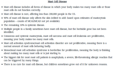 Mast cell disease fact sheet