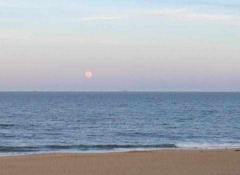 Moonrise over the ocean, Virginia Beach