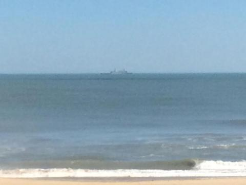 Military ship on the ocean