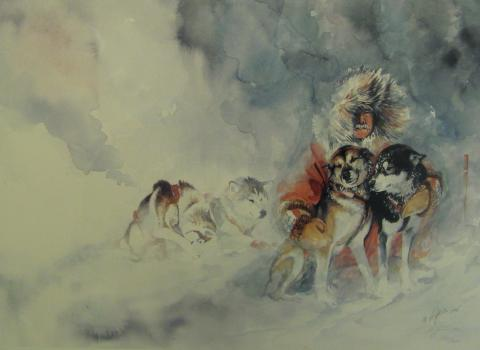 Sled dog painting in Healy, Alaska