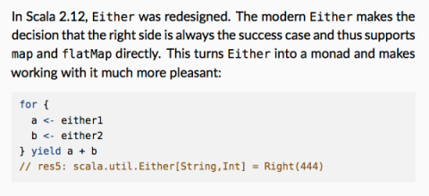 Scala 2.12: Either is biased, implements map and flatMap