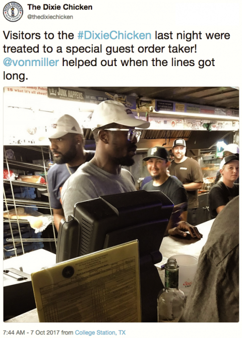 Von Miller at the Dixie Chicken
