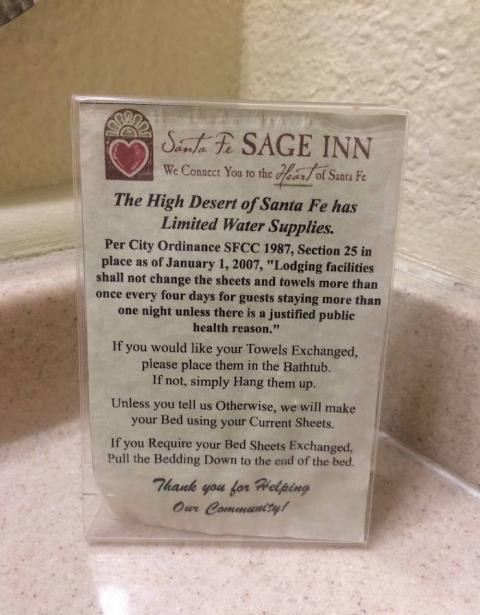 Water use in hotels in Santa Fe, New Mexico