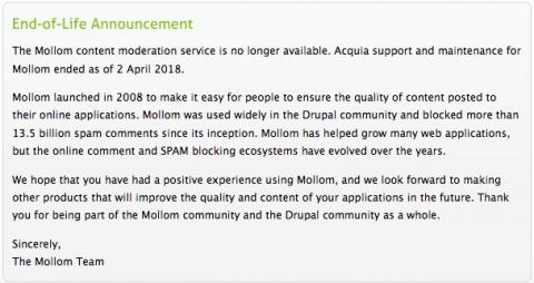 Mollom is out of business