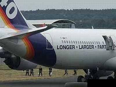 Airplane slogan: Longer, larger, wait, what?