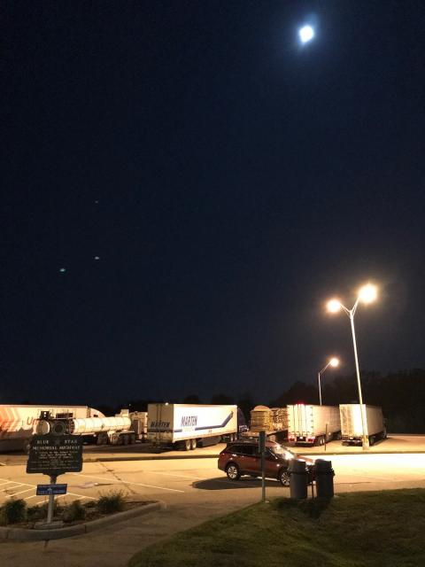 Full moon over an Indiana rest area